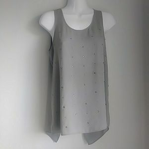 Express gray rhinestone tank has back detail sz:xs